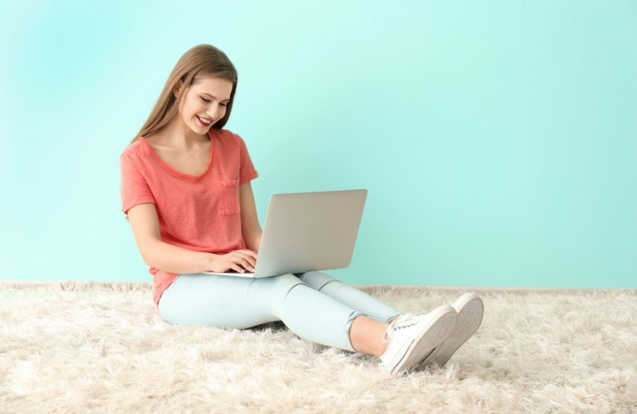 Young woman girl on laptop - How to make money online as a teenager -- My Financial Hill