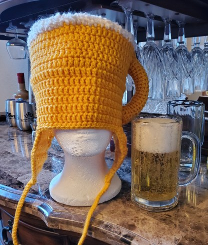 Beer Mug Earflap Hat Crochet Pattern (Women's and Men's Sizes)