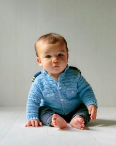 Coastal Military Baby Sweater Crochet Pattern
