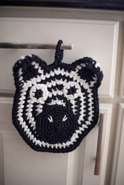 Zebra Potholder Crochet Pattern