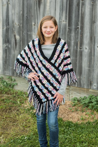 Girls' Skull Poncho Crochet Pattern, size 4/6, size 8/10 or size 12/14