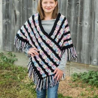 Girls' Skull Poncho Crochet Pattern, size 4/6, size 8/10 or size 12/14