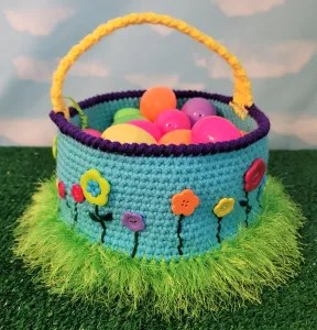 Flower Easter Basket Crochet Pattern