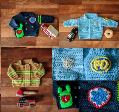 First Responder Baby Sweaters Crochet Patterns Ebook - Baby Firefighter, Baby Policeman, Baby Paramedic