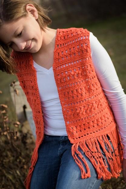 Layla Vest Crochet Pattern - Girls' Sizes 10, 12, 14