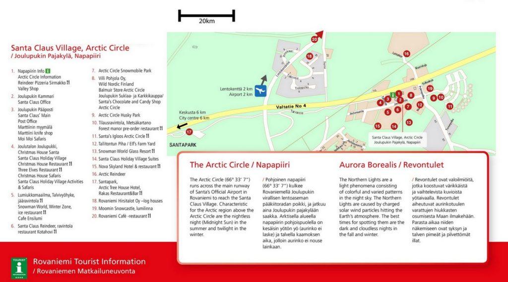 Деревня Санта Клауса в Лапландии, Рованиеми, карта