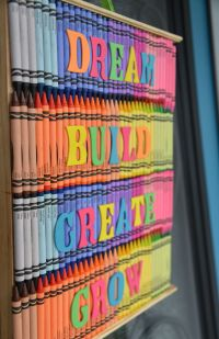 Crayon art: Back-to-school door decoration