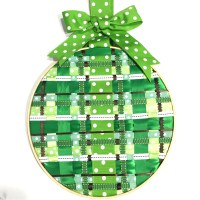 Springtime door decor with green ribbons
