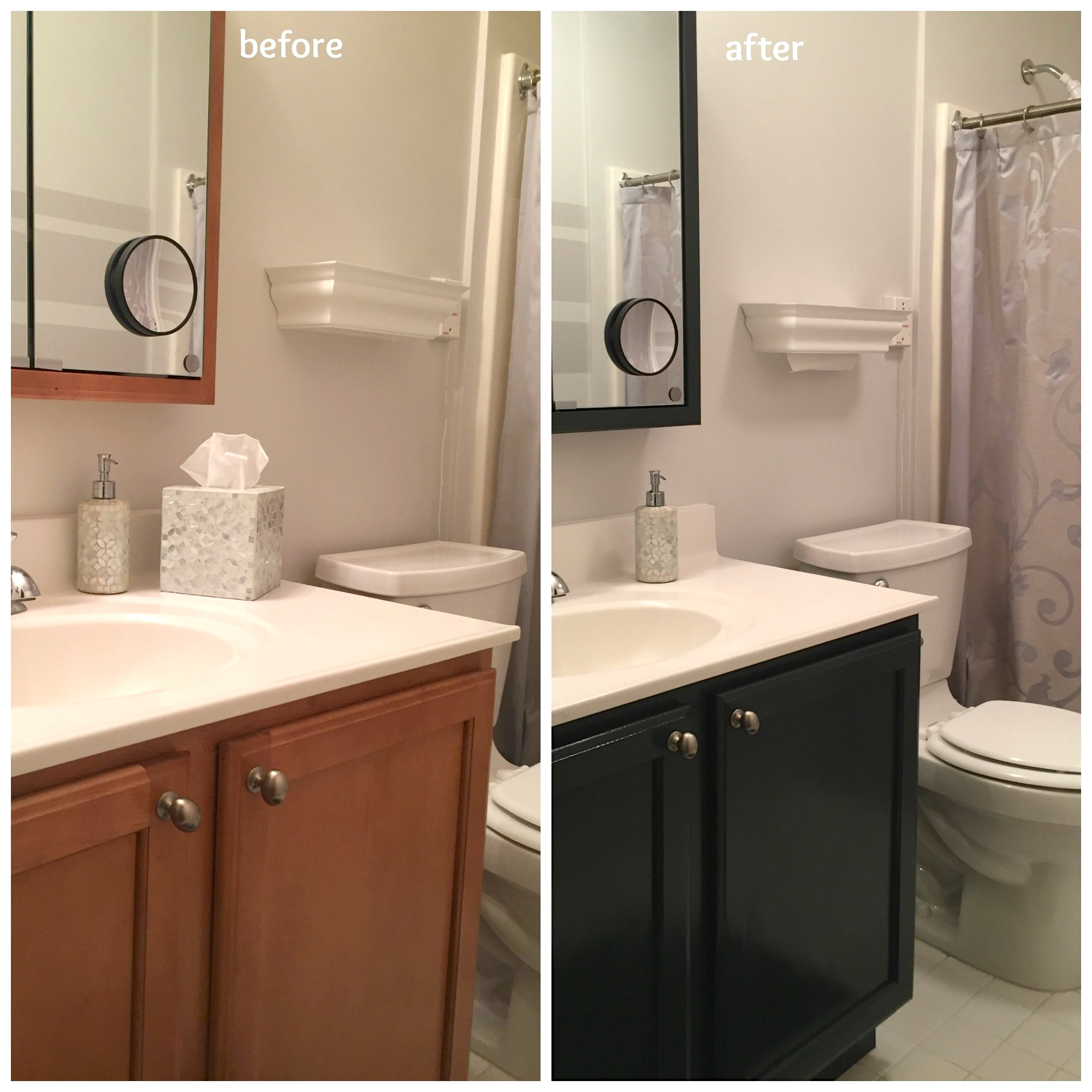 In an afternoon, I updated the color of my mom's bathroom