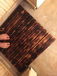Man cave bathroom design project: Make a burnt-wood bath mat