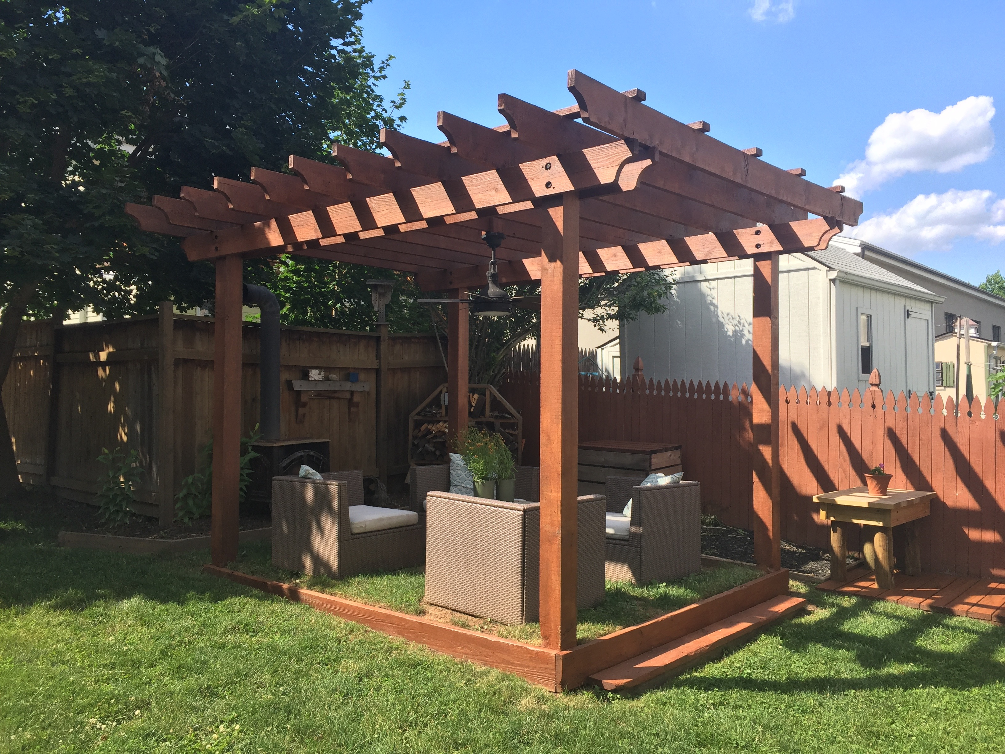 to stain a wood pergola