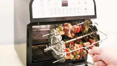 山水 SANSUI 12L旋風溫控智能氣炸烤箱-360度自動轉烤/不鏽鋼、不沾鍋九大配件