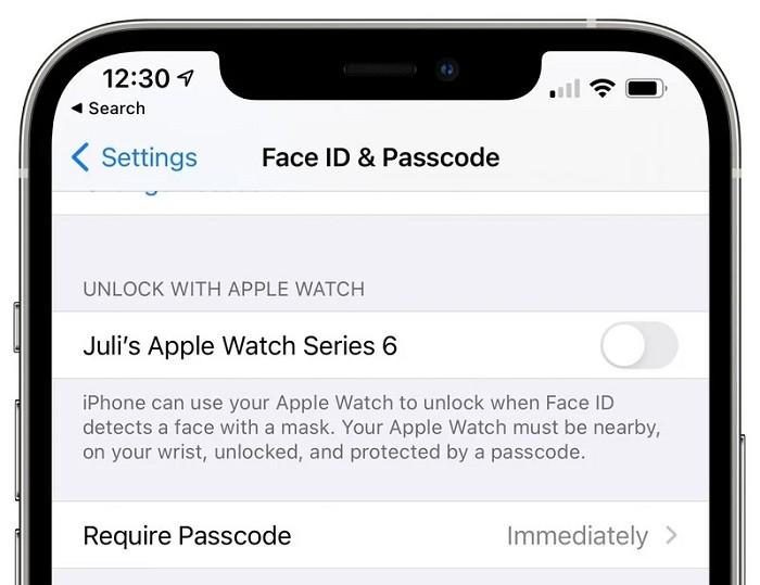 """可以在""""設定""""應用中的""""Face ID 和密碼""""下啟用"""