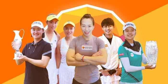 台灣大體育家族六位選手前進東京奧運,為台灣爭光!包含高爾夫球好手李旻(左一)、網球女雙詹皓晴(左二) 、詹詠然(左三)、舉重國手郭婞淳 (中)、柔道一哥楊勇緯(右二) 、高爾夫球好手徐薇淩(右一)。