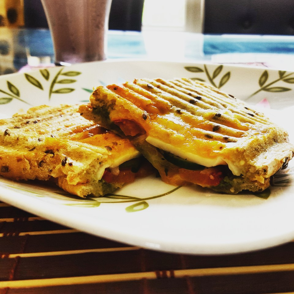 Double Cheese Toasted Veggie Coriander Chutney Sandwich