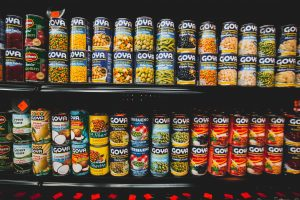 labeled can lot on shelves