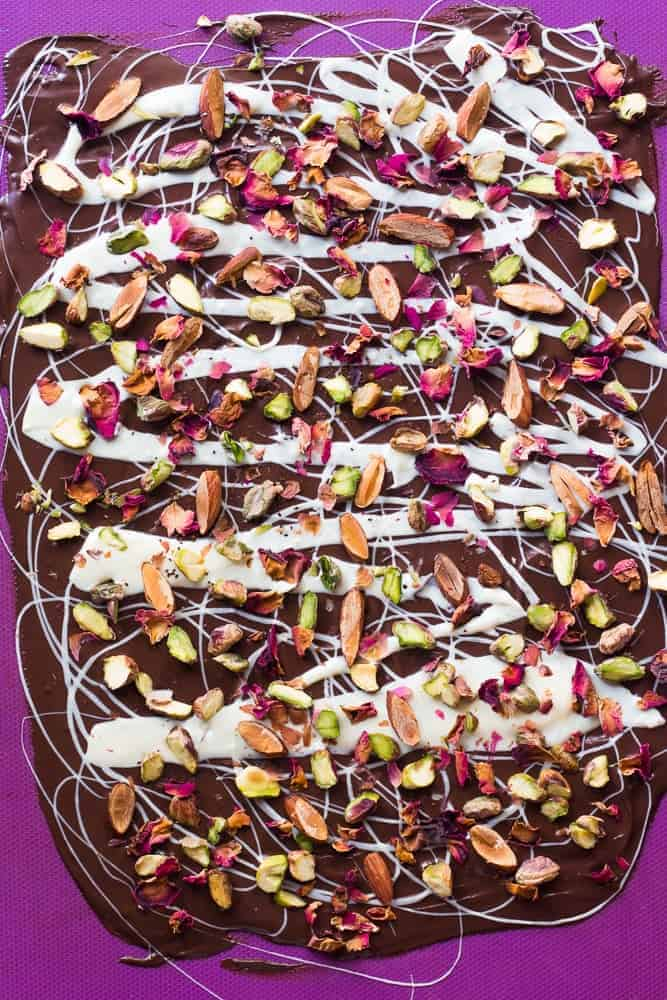 White and Dark Chocolate Rose Pistachio Bark looks beautiful and complicated but takes a total of 5 ingredients, 20 minutes and 5 steps to make. Also perfect for homemade gifting!