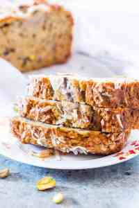 Quick Coconut Pistachio Banana Bread