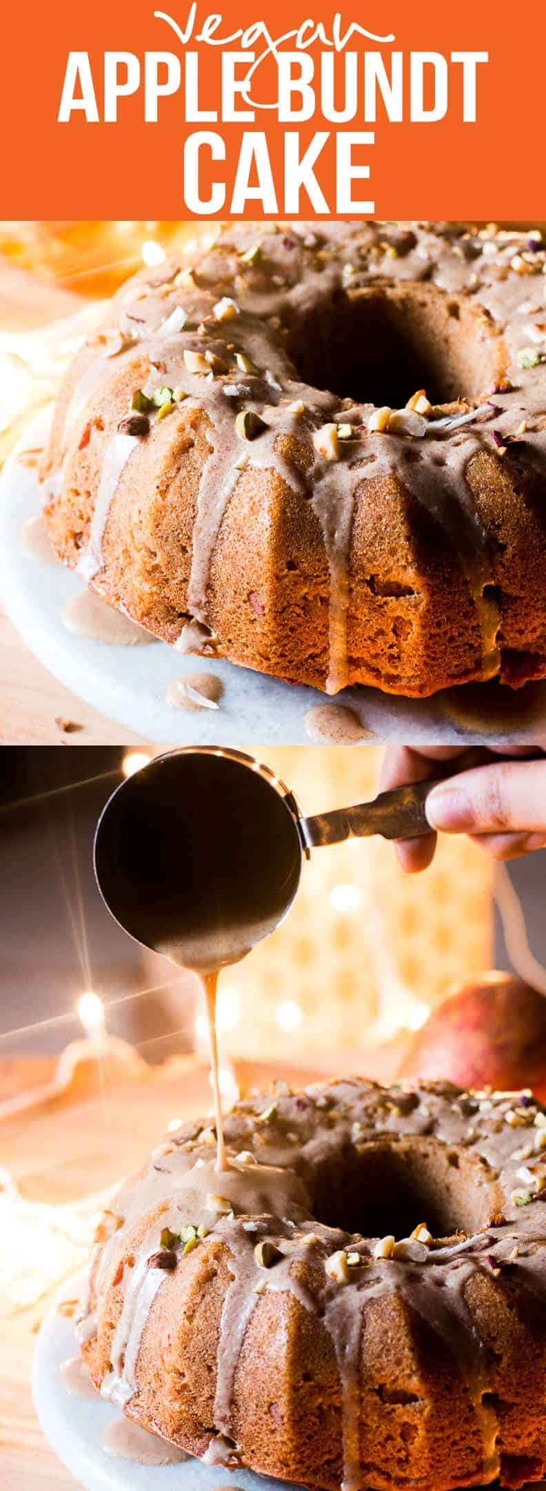 Garam Masala Eggless Apple Bundt Cake - easy, moist, spiced vegan cake made with fresh apples and glazed with a brown butter rum sauce.