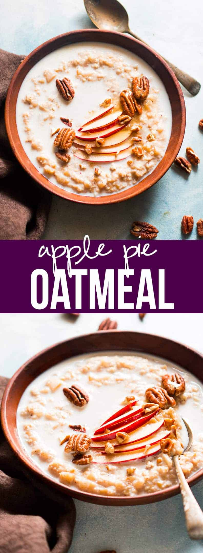 Quick and Healthy Apple Pie Oatmeal Breakfast Bowls - with pecan, honey and cinnamon. Comforting stovetop family breakfast in a jiffy!