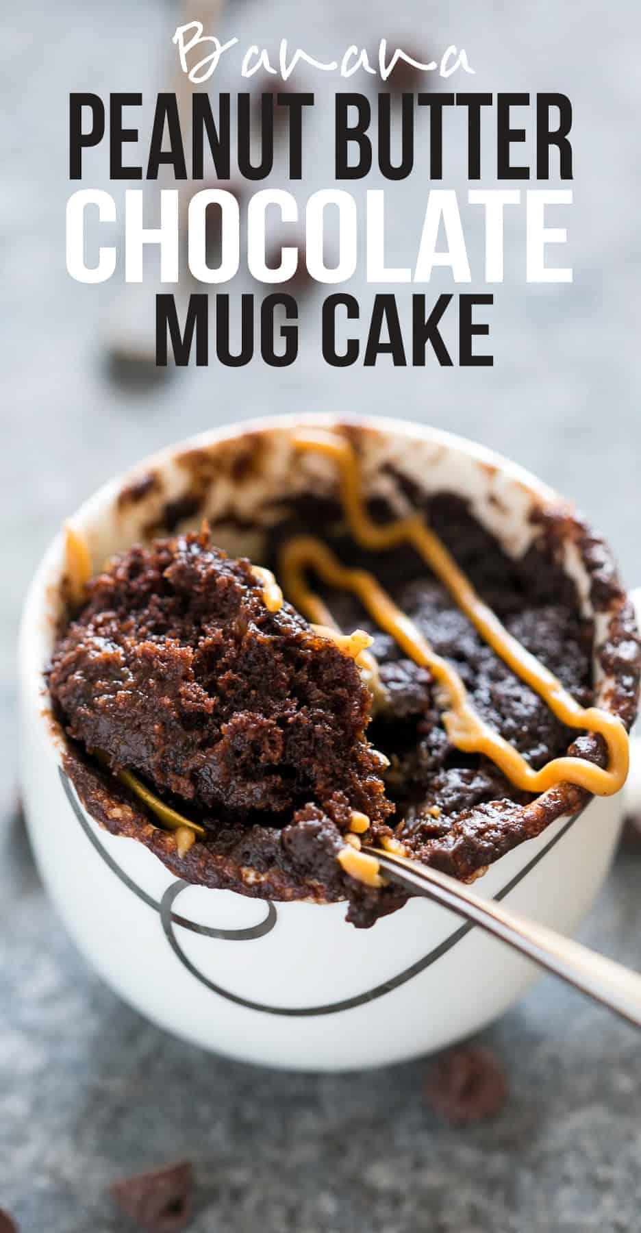 Banana Chocolate Peanut Butter Mug Cake | Microwave Mug Cake Recipe | Eggless Mug Cake | Molten Gooey Egg Free Chocolate Mug Cake | Vegan