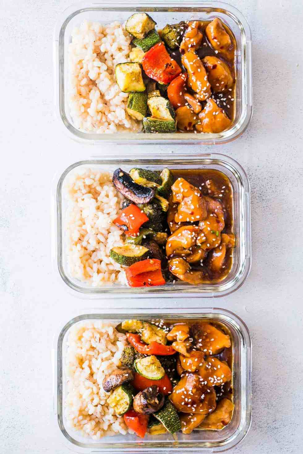 Tasty Teriyaki Chicken Stir-Fry Meal Prep Lunch Boxes are the easiest way to make sure you are ready for for the week ahead. Served with brown rice and grilled vegetables, it's a balanced meal!