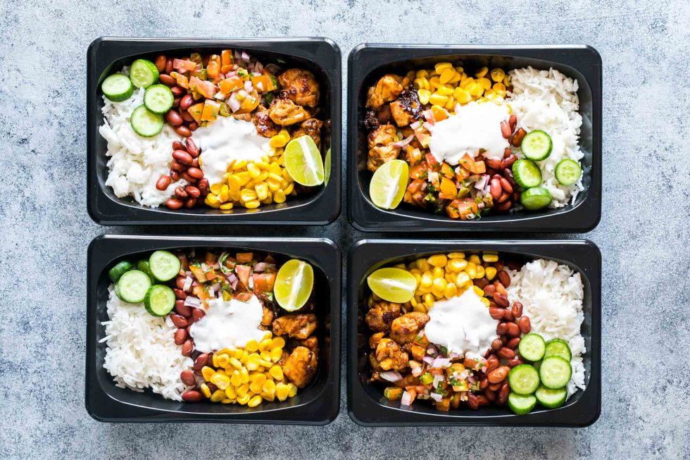 Easy chicken burrito meal prep bowls are perfect for planning weekday work lunches ahead! Four lunches ready in 60 mins - tasty, gluten free and healthy!