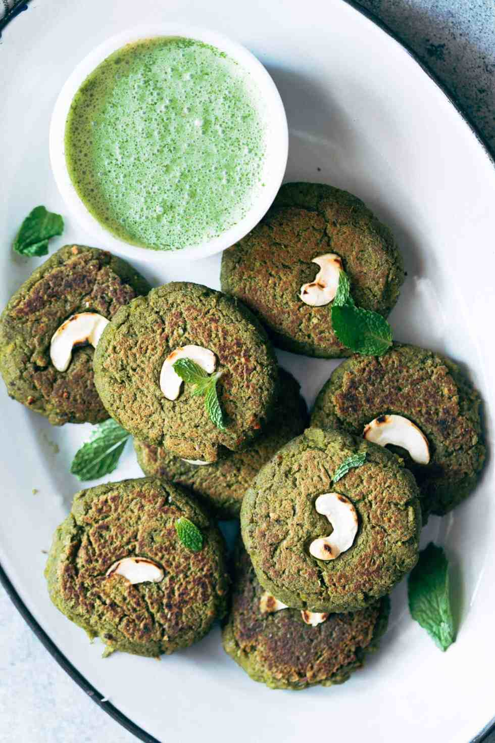 Easy to make soya hara bhara kebab are a healthy twist to restaurant style hara bhara kebabs. These are perfect if you are looking for vegetarian kebabs to serve your guests!