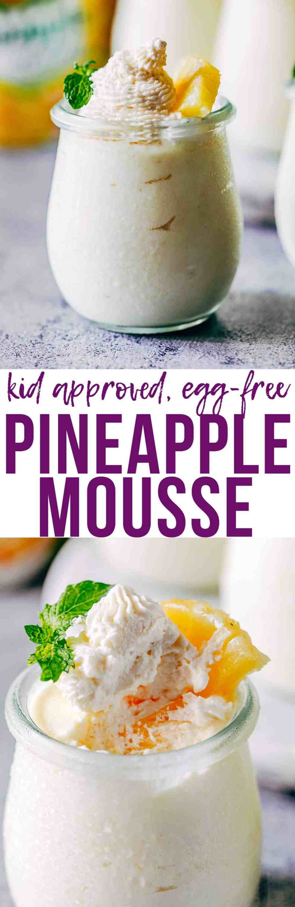Easy eggless pineapple mousse is a five ingredient, make-ahead dessert that will be a crowd pleaser! Light & airy, this is kid-approved, egg-free, gluten free and vegetarian mousse is perfect for potlucks, barbecues, parties.