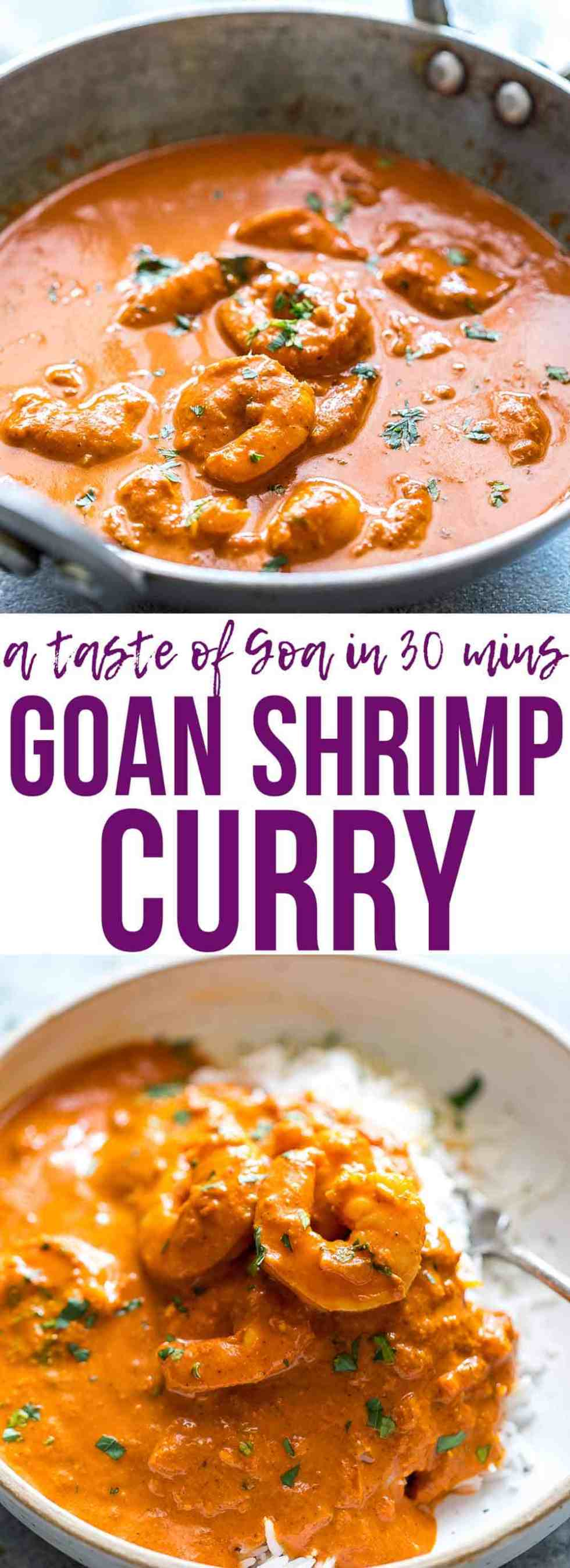 Goan Prawn Curry or Shrimp Curry with Coconut is a spicy, sour Indian curry that comes from Goa and is also called Ambot Tik. Ready in 30 minutes it's a simple Indian curry that anyone can make! Perfect for fast, weeknight dinner. Gluten Free.