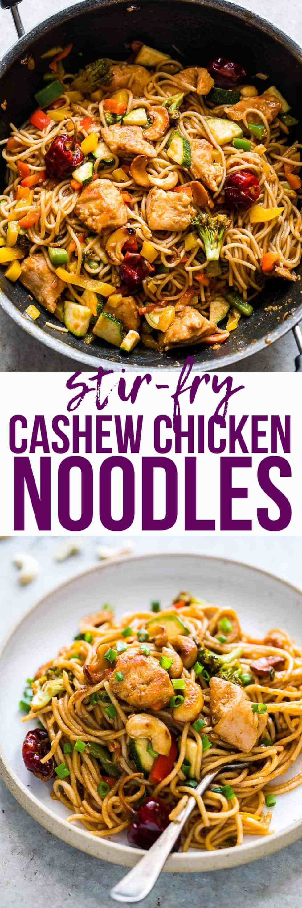Chinese Cashew Chicken Noodles Stir-Fry is a delicious, easy take on your favourite take-out cashew chicken recipe. Crispy bits of chicken and noodles are tossed in a super flavourful, spicy sauce and roasted cashews for a meal that the whole family will love!