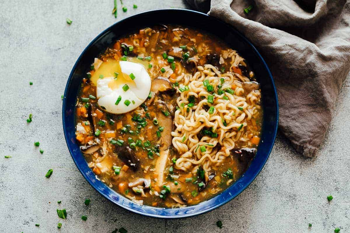 Chinese Hot and Sour Soup with Ramen  One pot comfort food
