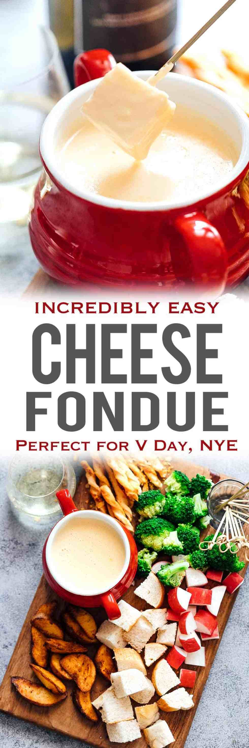 Easy cheese fondue recipe with white wine is a perfect gourmet appetizer that you can make at home! Cheeses like emmental, gruyere and cheddar work best for a silky, creamy, indulgent swiss fondue. Serve it up in a fondue pot with dippers like bread, broccoli, beef steak bites, potatoes etc. Amazing for New Years Eve, Valentines Day or a date night!