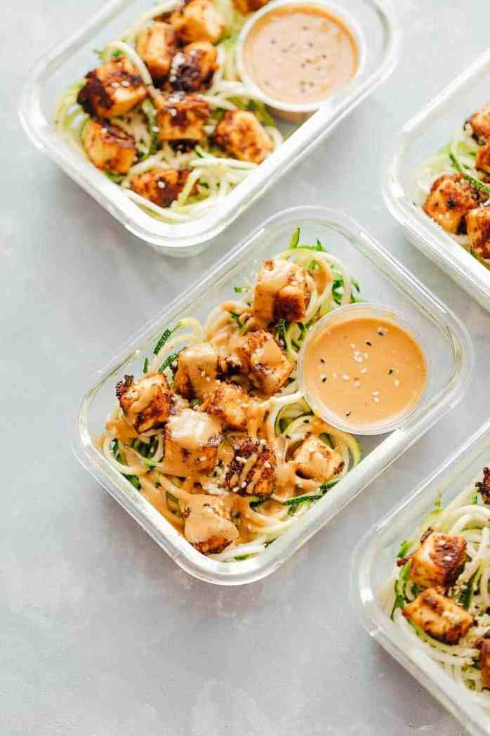 Sesame tofu with zucchini noodles meal prep