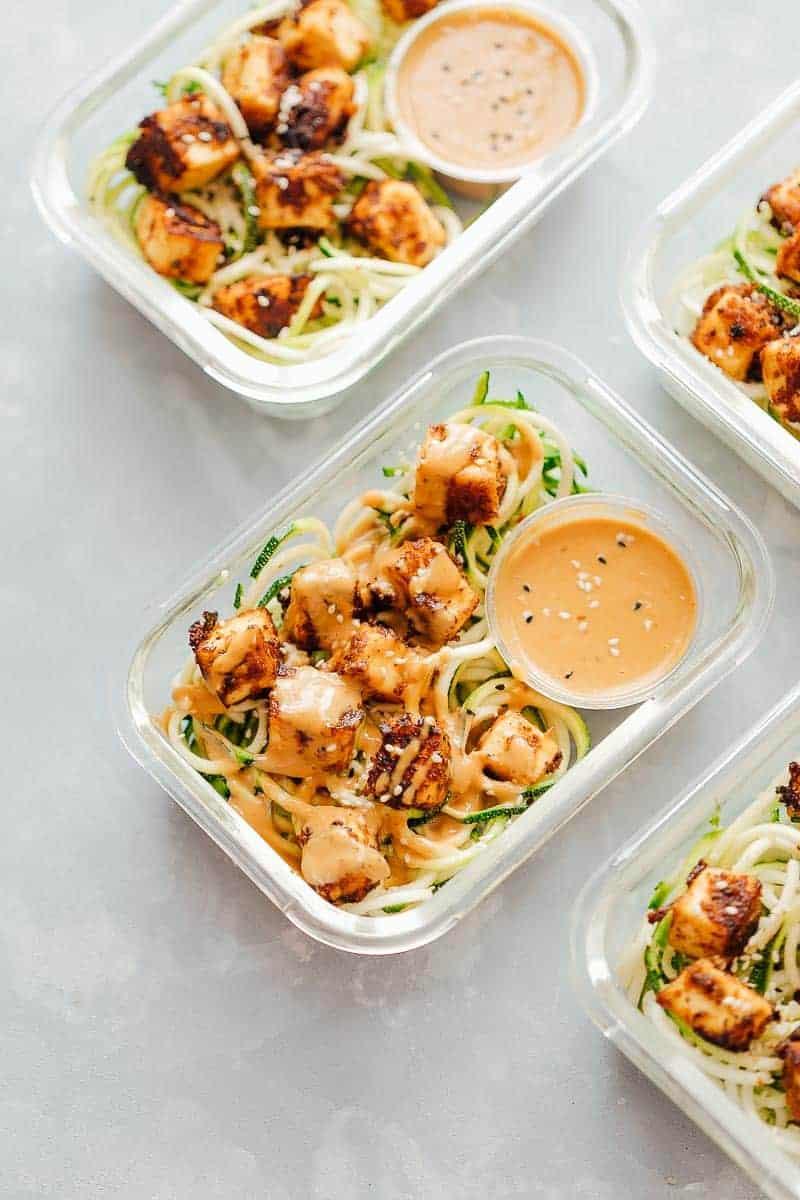 Crispy Sesame Tofu & Zucchini Noodles