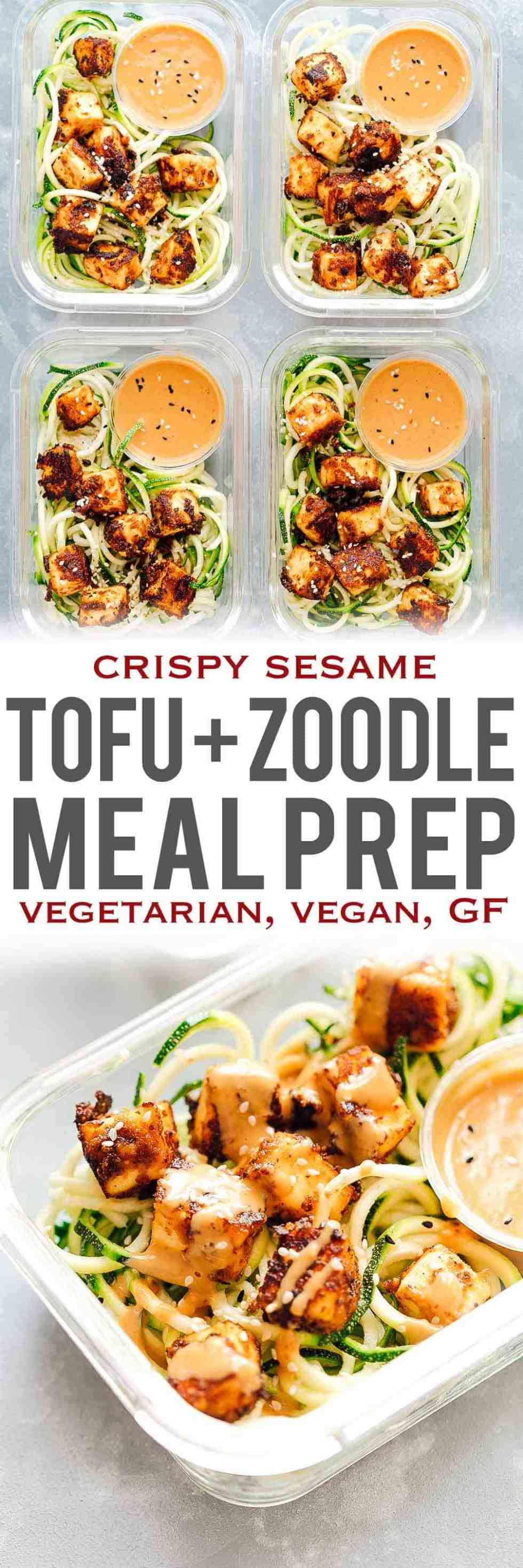 Crispy sesame tofu with zucchini noodles is the perfect healthy, vegetarian meal prep lunch recipe that is low carb, vegan and gluten free too. These easy meal prep lunches are served with crispy sesame tofu on a bed of zucchini noodles and a delicious peanut sauce to go with! Healthy lunch recipe on the go!