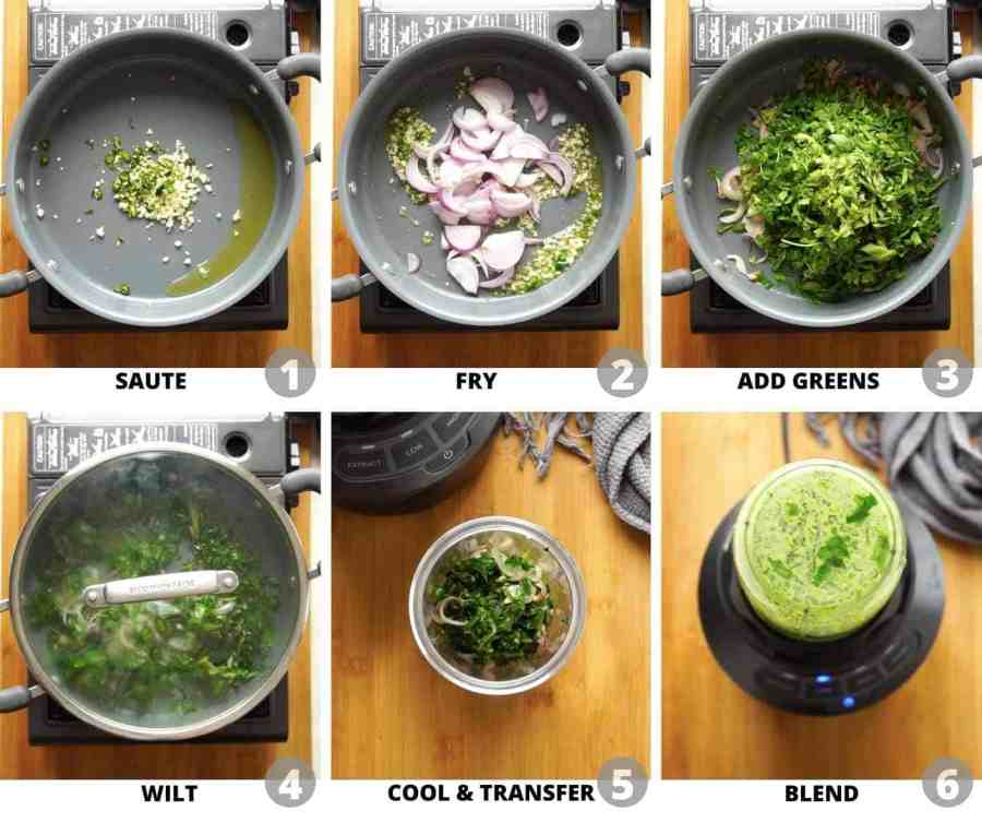 Step by step pictures showing how to make palak puree