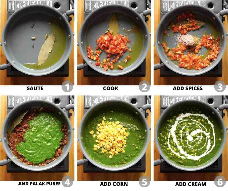Step by step pictures to show how to make corn palak