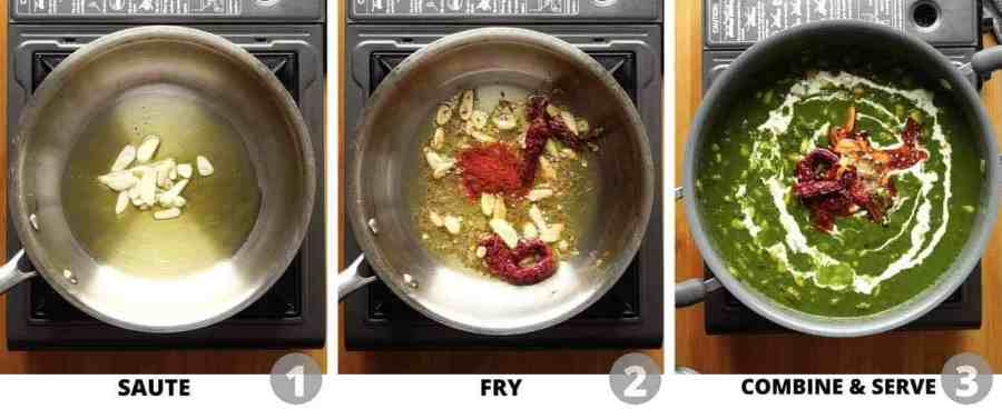 Step by step pictures showing how to make garlic tadka