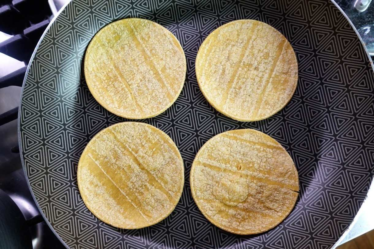 warming up tortillas