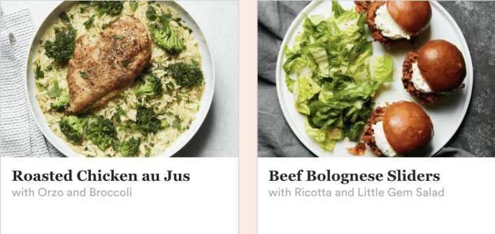 Plated Meat meal options