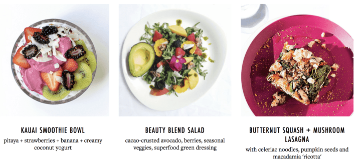 sakara meal kit menu options