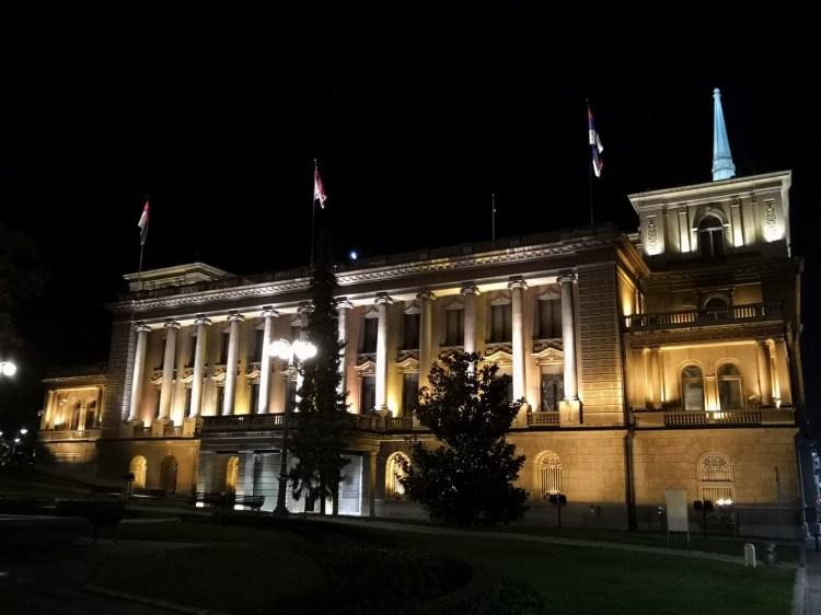 The New Palace Belgrade by night