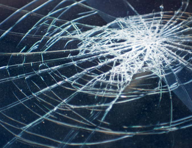 Broken glass in car .