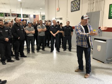 Roush Fenway Racing shares a photo as Ryan Newman returns to his team's shop to a standing ovation.