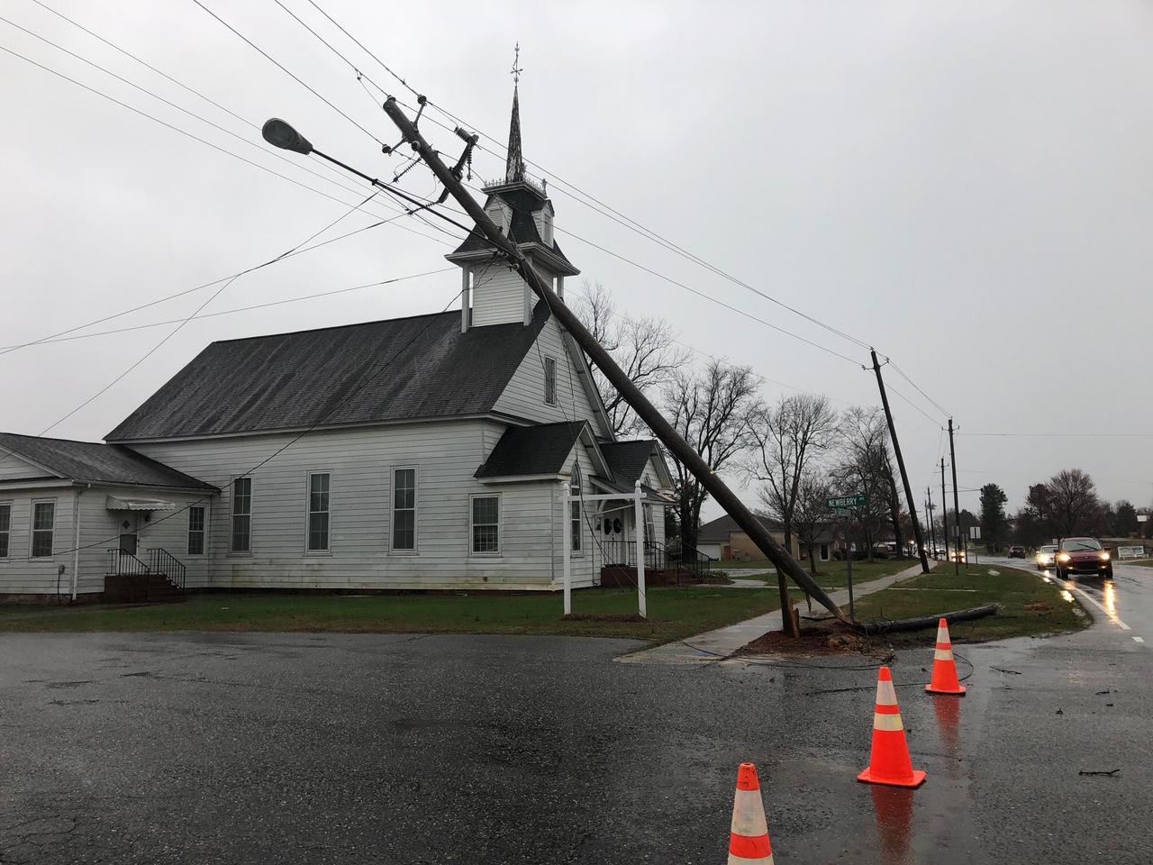 Storm damage in Liberty (Hayley Fixler/WGHP)