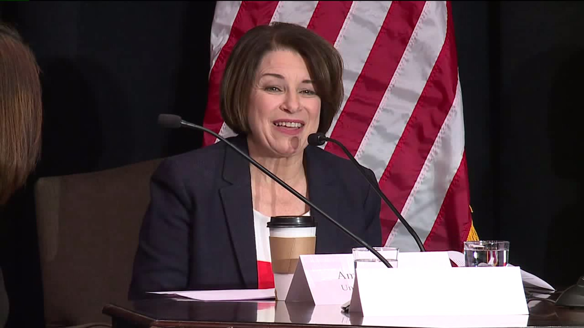 Sen. Amy Klobuchar visits the International Civil Rights Museum in Greensboro for a roundtable on voting rights on Feb. 27, 2020. (WGHP)