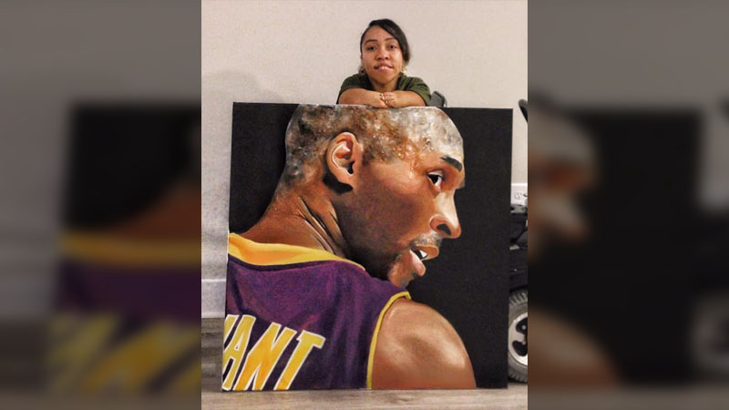 Triad artist Monique Johnson painted a portrait of Kobe Bryant in commemoration of his life