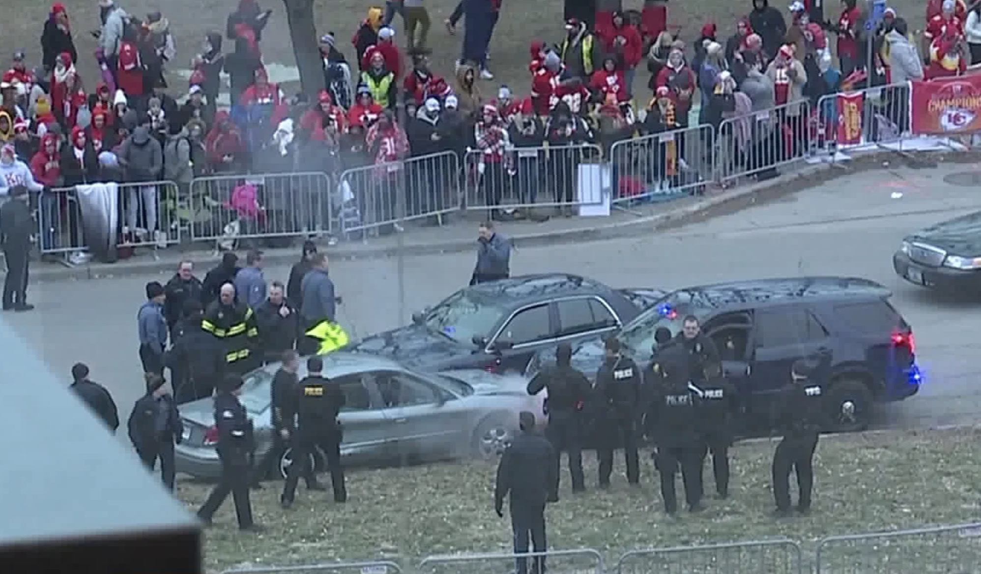 Car crashes through barricades at Chiefs Super Bowl parade in Kansas City