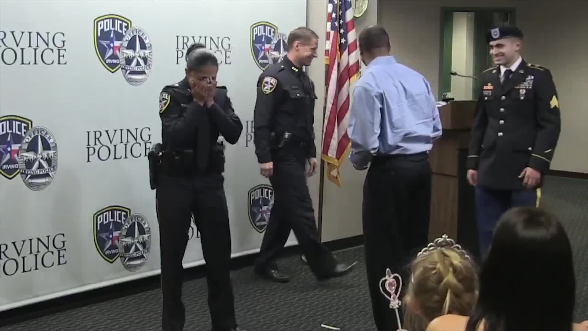 A Soldier son surprised his mom by showing up as she was swearing in as a police officer.